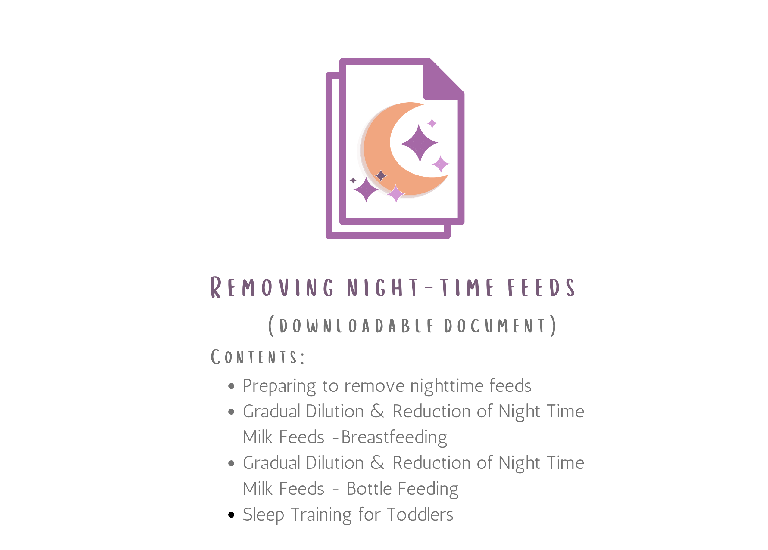 Removing Night Time Feeds For Babies Over 1 Year Old